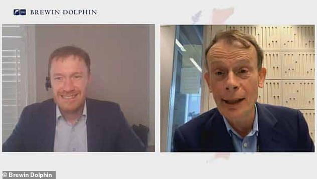 Pictured: Andrew Marr on a Zoom call with wealth management company Brewin Dolphin